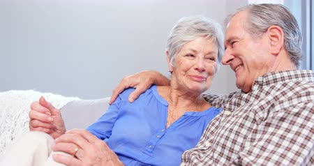 senior lifestyle : Cute elderly couple talking on sofa