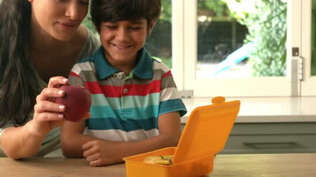 lunch : happy mother putting apple in her sons lunch box in slow motion