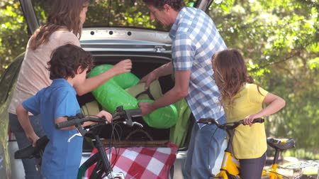 carregamento : Happy family of four unloading car trunk while on picnic
