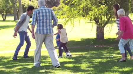 jogging : Cheerful multi generation family playing football in a park