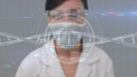 Animation of scientist using a tech interface in a laboratory Стоковые видеозаписи