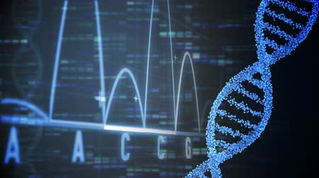 ДНК : Animation of DNA and graphs moving fast on a black background