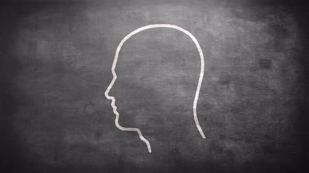 innovation : Shape of bulb in mans head on grey screen