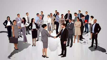 agreement : Group of business people meeting on white map screen