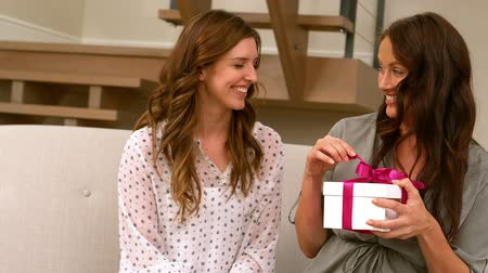 companionship : Friend is giving a present to a friend Stock Footage