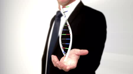 matris : DNA appearing on man s hand Stok Video
