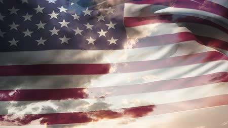 old glory : Animation of american waving flag with blue sky background