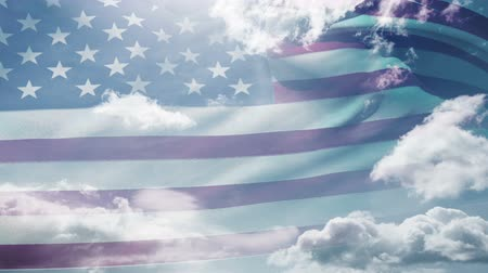 vlastenectví : Animation of american waving flag with blue sky background