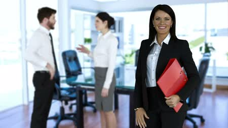 talk : Business people standing and talking in the office Stock Footage