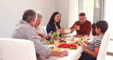 senior lifestyle : Happy family having a lunch at home Stock Footage