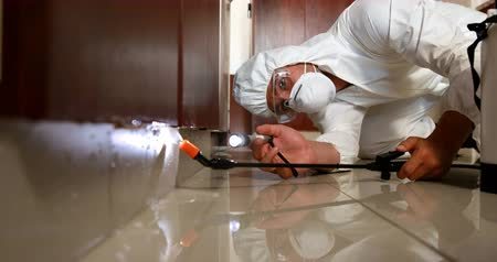 управление : Man doing pest control in a kitchen