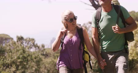 hiking : Slow motion of hiker couple walking through forest