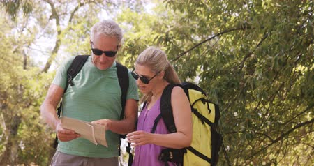 elliler : Couple using map to find the way in forest