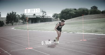 yarışma : Slow motion of athlete running from the starting line 4k Stok Video