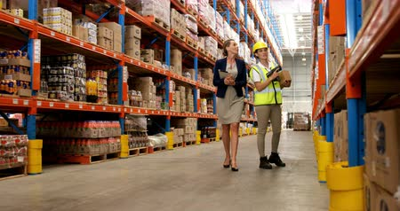 paket : Worker and manager scanning package in warehouse