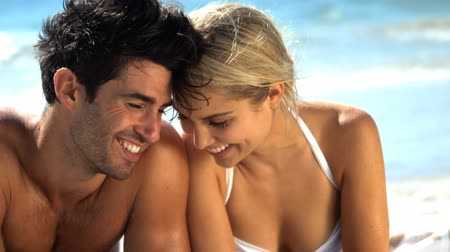 romantic couple : Slow motion of affectionate young couple doing romance on beach