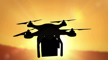 dron : Digital image of silhouette drone holding a box against sunset Wideo