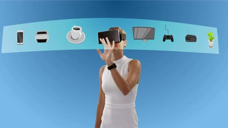 vizyon : Businesswoman using virtual reality glasses while touching the screen