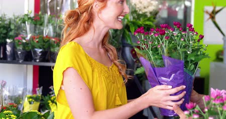 proprietário : Beautiful female florist giving bunch of flower to costumer in flower shop