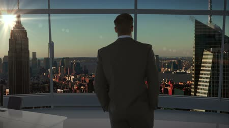 стоять : Rear view of businessman standing and looking at office window