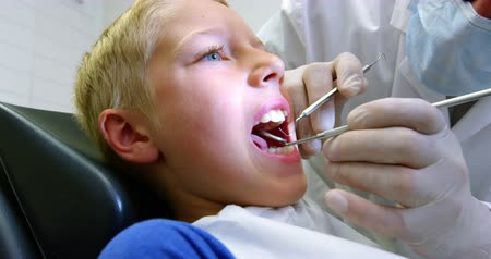 ortodonta : Dentist examining a young patient with tools in dental clinic 4k