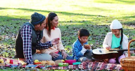 пикник : Happy family having picnic in the park 4k Стоковые видеозаписи