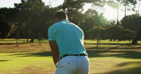 fit : Golfer playing golf at golf course 4k