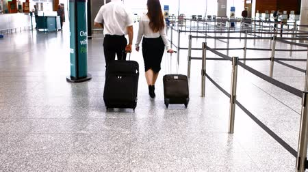 piloto : Pilot and female flight attendant walking with luggage at airport