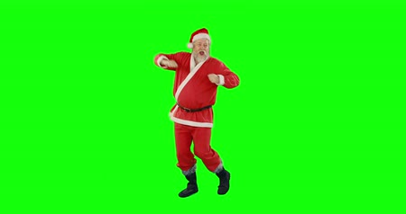 Санта шляпе : Santa claus dancing and singing on green background 4k