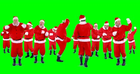 santa : Group of santa claus dancing on green background 4k