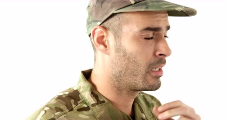 dua eden : Soldier in military uniform praying on white background 4k
