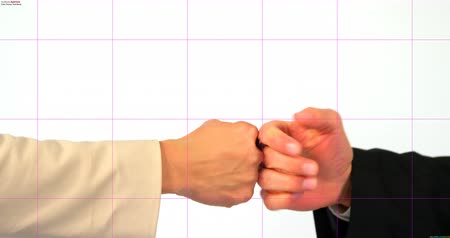 кулак : Business people giving fist bump on white background 4k Стоковые видеозаписи