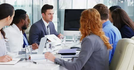 discussion meeting : Businesspeople discussing with each other in meeting at conference room 4k Stock Footage