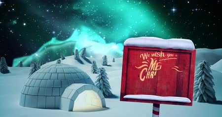 igloo : Igloo with merry christmas message during christmas time 4k Stock Footage
