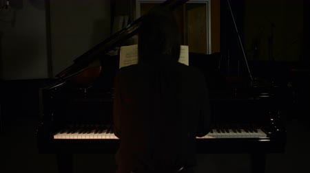 piyano : Rear view of woman playing a piano in music studio 4k