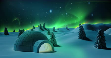 igloo : Illustration of igloo and snow covered trees on a snowy landscape during christmas time 4k