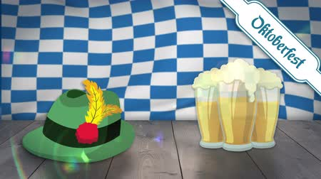 bavarian flag : Digitally generated of beer glass and hat on wooden plank with oktoberfest flag in background