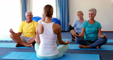 emekli : Trainer assisting senior citizens in practicing yoga at home