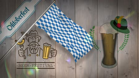 bavarian flag : Digitally generated of oktoberfest flag waving on wooden background