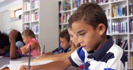 элементарный : Schoolboy drawing in book in library at school