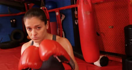 boxe : Female boxer performing a boxing stance in fitness studio