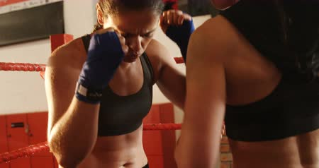 boxe : Two female boxers practicing in boxing ring at fitness studio