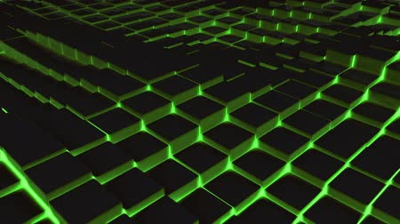 сетка : Digitally generated video of green illuminated blocks moving in wavy pattern