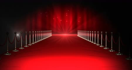 halı : Digitally generated video of long red carpet with spotlights against red background