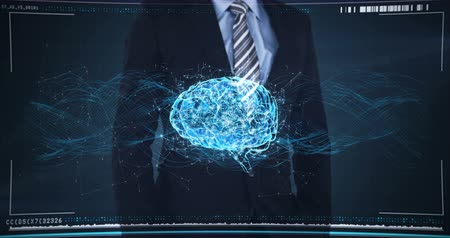 intelligencia : Businessman touching a digital screen with a rotating human brain Stock mozgókép
