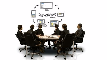 executivo : Businesspeople looking at futuristic screen showing responsive symbol at meeting