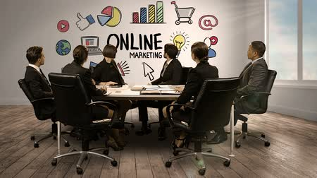 marketing : Business people looking at digital screen showing online marketing in conference room