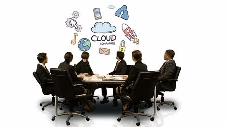 иконки : Businesspeople looking at futuristic screen showing cloud computing symbol at meeting