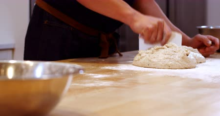 pastelaria : Chef preparing the dough in cafe kitchen