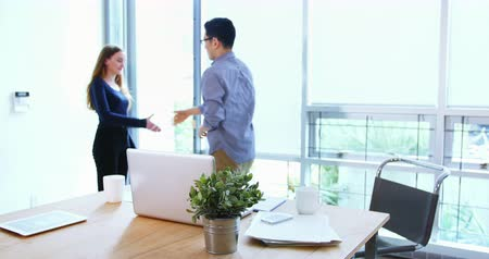 colega de trabalho : Business executives shaking hands with each other in office